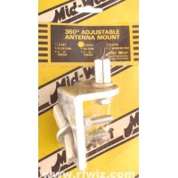 Mid-West C-547A  -  360° Adjustable Angle 3/8x24 Lug Connector CB Antenna Mirror Mount Midwest - NOS
