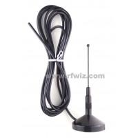 Comtelco A2111B-450-00  -  450-470 MHz Quarterwave Magnet Mount 12 ft Mobile Antenna BLACK finish - NOS