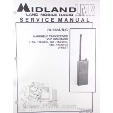Midland 70112000 - 70-132A-B-C VHF Portable Radio Paper Service Manual 136-174 MHz 70-132000 NOS