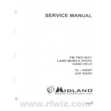 Midland 70440000 - 70-440BP UHF Portable Radio Paper Service Manual 440-470 MHz 70-4400BP NOS