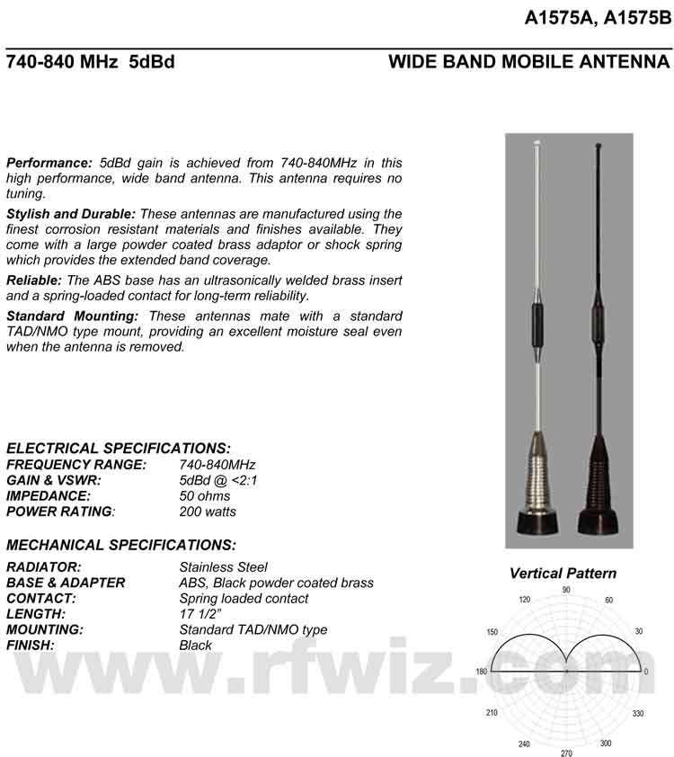 Detailed and complete description and specifications for Comtelco Antenna Models A1575A A1575B including Vertical Pattern chart