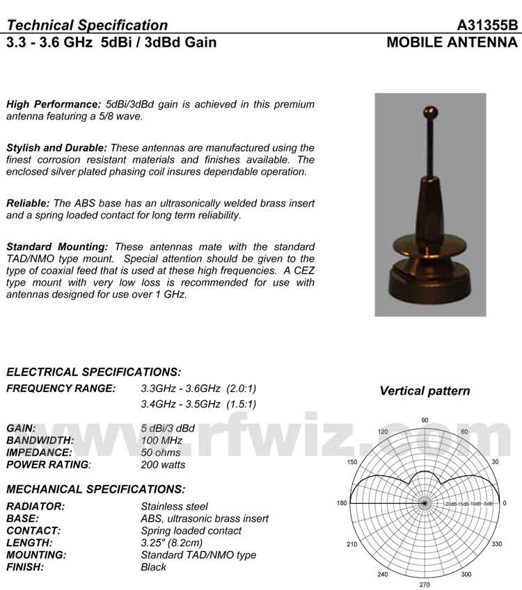 Detailed and complete description and specifications for Comtelco Antenna Model A31355B including Vertical Pattern chart