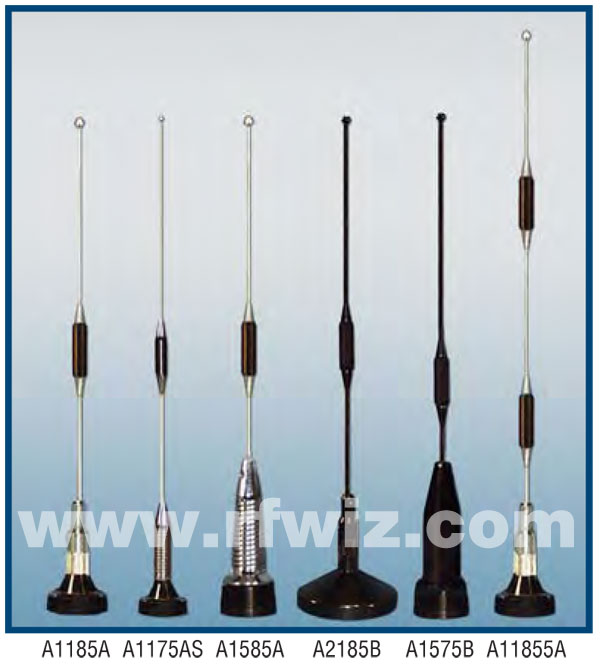 Images of Comtelco Classic UHF Mobile Antenna Models A1185A A1175AS A1585A A2185B A1575B A11855A in profile showing differences with and without shock springs and relative dimensions