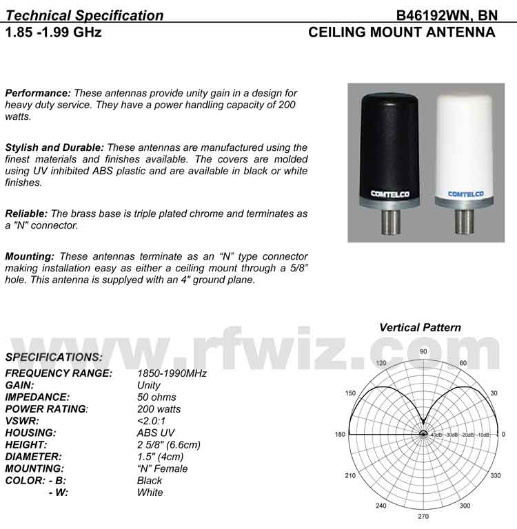 Detailed and complete description and specifications for Comtelco Antenna Model B46192WM including Vertical Pattern chart
