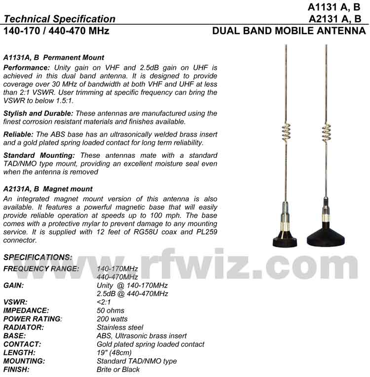 Detailed and complete description and specifications for Comtelco Antenna Models A2131B A2131A including Vertical Pattern chart