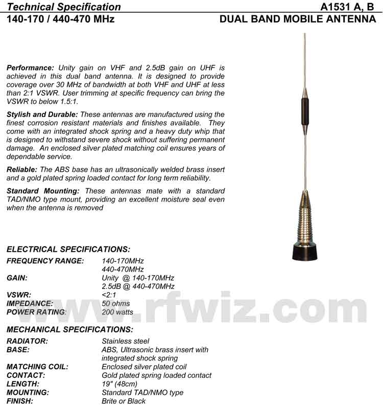 Detailed and complete description and specifications for Comtelco Antenna Models A1531B A1531A including Vertical Pattern chart