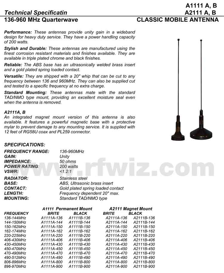Detailed and complete description and specifications for Comtelco Antenna Models A2111A A1111A A1111B A1511A A1511B including Vertical Pattern chart