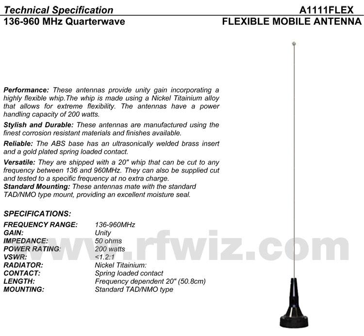 Comtelco A1111FLEX 108-970 MHz Quarterwave Nickel Titainium Flex