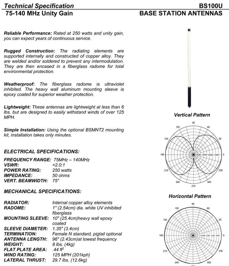 Complete and detailed specification of the BS100U XL Series Line of Antennas