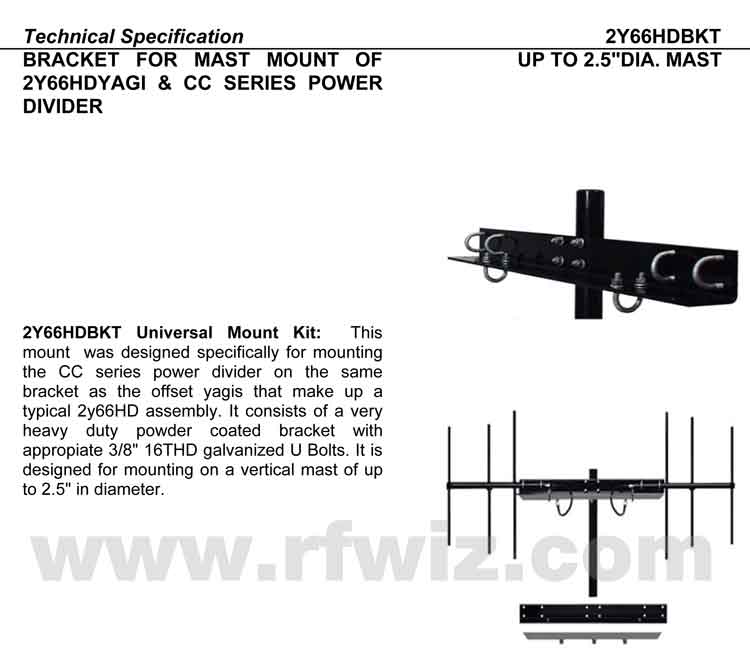 Image of Dual Directional Yagi Design Mount Model 2Y66HDBKT