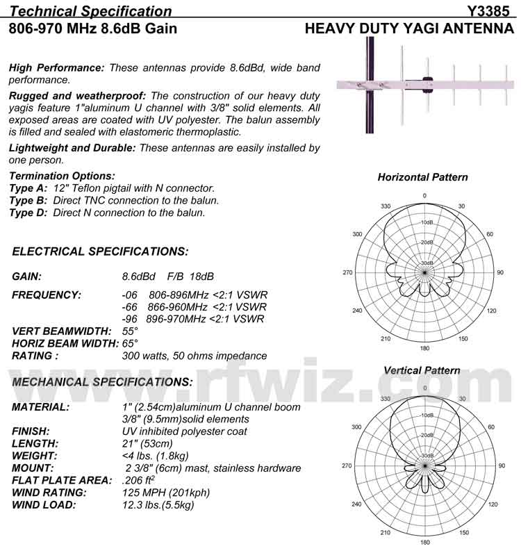 Detailed and complete description and specifications for Comtelco Antenna Model Y3385D-06 Yagi Beam including Vertical and Horizonral Pattern chart