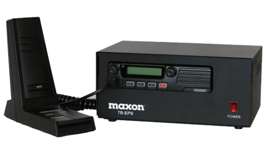 Maxon Base Station using the TM-8204 TM-8102 TM-2102 TM-2402 TM-8000/2000 Series Maxon 512 Channel 50/40/25 Watt Mobile Radio with TB-EPS Enclosure and ACC-802M Desk Microphone