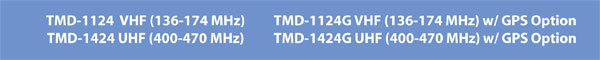 Banner Heading listing the Frequency Ranges of the Maxon TMD-1124 TMD-1424 TMD-1124G TMD-1424G TMD-1000 Series 1024 Channel 50/45 Watt DMR Mobile Radio
