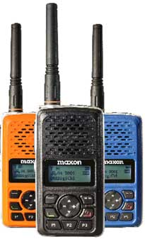 Maxon's TPD-8000 512 Ch 3 Watt DMR Digital/Analog Portable Radio provide reliable communications for greater safety and utility and come in three hi-viz colors