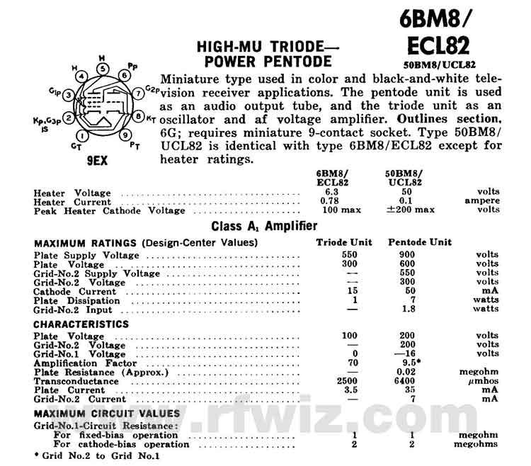 6BM8/ECL82 GE Power Pentode & Triode Miniature Vacuum Tube 9