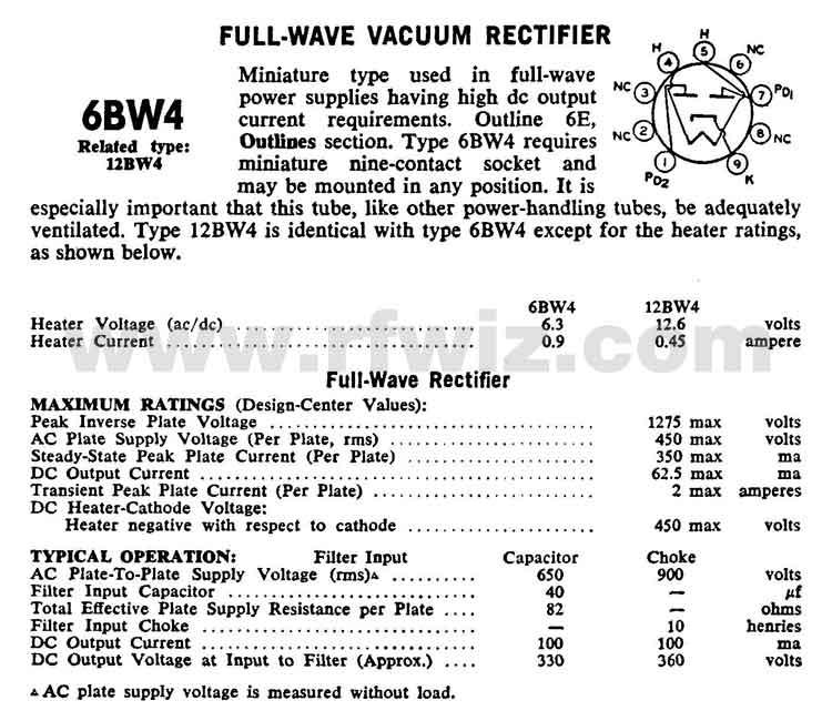 6BW4 GE Full-Wave Rectifier Vintage Miniature Vacuum Tube 9