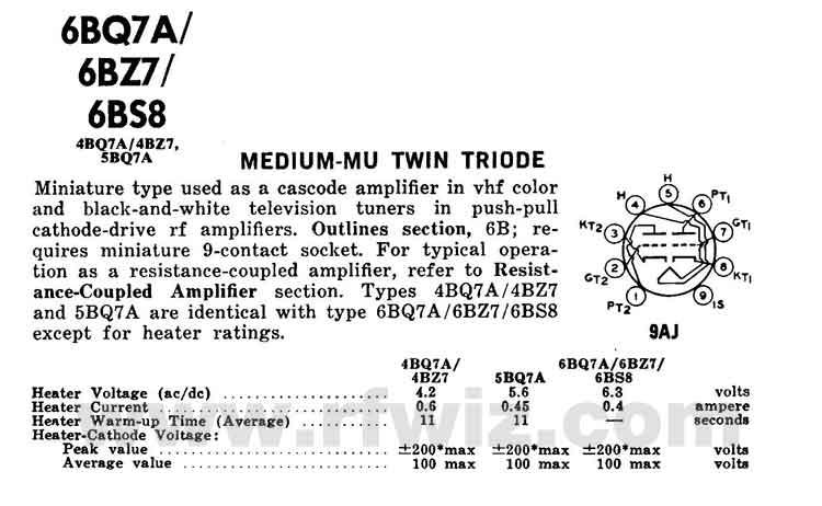 6BZ7/6BQ7A/6BS8 GE Medium-Mu Twin Triode Vintage Miniature Vacuum