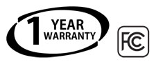 Maxon's 1 year warranty and FCC Certification logos certifies that the electromagnetic interference, safety, manufacture and other quality parameters have been met by the Maxon TSD-4416